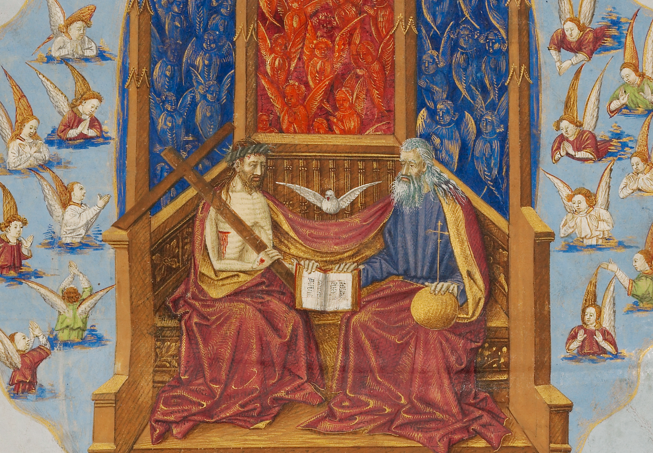 The Trinity from Saint Augustine's City of God, about 1440-1450, Master of the Oxford Hours. Tempera colors, gold and silver paint, and ink on parchment, 14 ¼ x 10 ¾ in. (36.2 x 27.3 cm). The J. Paul Getty Museum, Ms. Ludwig XI 10, fol. 2