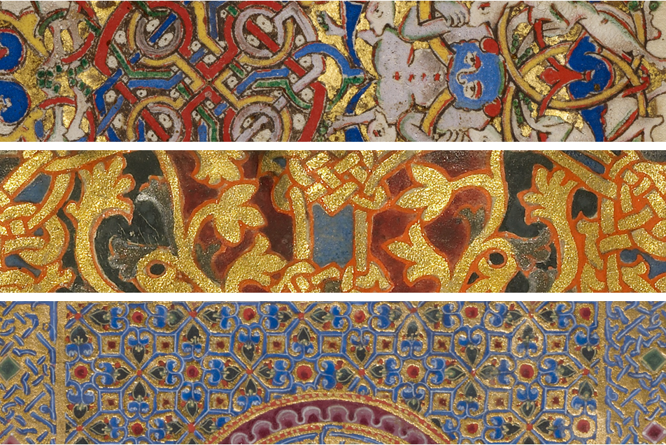 Inhabited Initial C from Montecassino Breviary, 1153. Tempera colors and gold leaf on parchment, 7 9/16 x 5 3/16 in. MS. LUDWIG IX 1, FOL. 138V; Ornamented Monogram VD from Beauvais Sacramentary, about 1000 – 1025. Tempera colors, gold, silver, an ink on parchment, 9 1/8 x 7 1/16 in. MS. LUDWIG V 1, FOL. 1V; Canon Table Page from Zeyt'un Gospels, 1256, T'oros Roslin. Tempera colors, gold paint, and ink on parchment, 10 7/16 x 7 1/2 in. MS. 59, FOL. 4