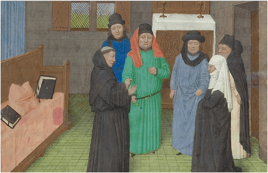 A Priest and Guy's Widow Conversing with the Soul of Guy de Thurno from The Vision of the Soul of Guy Thurno, 1475, Simon Marmion.  Tempera colors, gold, and ink on parchment, 14 5/16 x 10 1/8 in. (36.4 x 25.7 cm ). The J. Paul Getty Museum, Ms 31, fol. 7