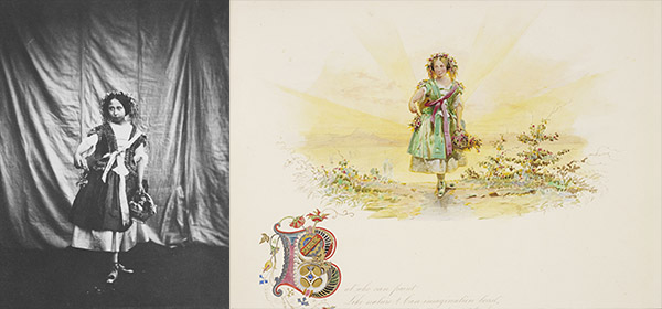 "Princess Alice as ""Spring"" in the Tableaux of the Seasons, 1854. Left: photograph by Roger Fenton; Right: Watercolor by Carl Haag. Royal Collection Trust / Her Majesty Queen Elizabeth II 2014"
