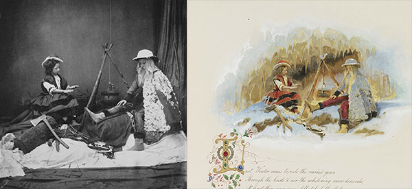 "Princess Louise and the Prince of Wales as ""Winter"" in the Tableaux of the Seasons. Left: photograph by Roger Fenton; Right: Watercolor by Carl Haag. Royal Collection Trust / Her Majesty Queen Elizabeth II 2014"