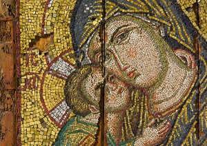 Detail of Mosaic Icon with the Virgin and Child / Byzantine