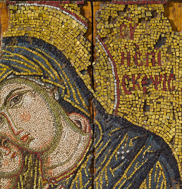 Detail of inscription on Mosaic Icon with the Virgin and Child / Byzantine