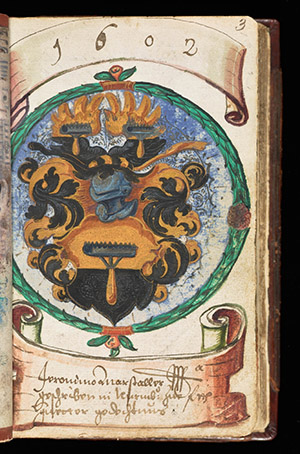 Page with coat of arms from Johann Henrich Gruber's Liber Amicorum, or Book of  Friends (1602 to 1612)  Courtesy Getty Research Institute