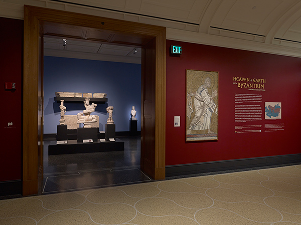 Installation view of Heaven and Earth at the Getty Villa