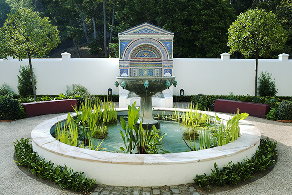 The fountain in the East Plaza at the Villa is still gurgling and feeding the plant life.