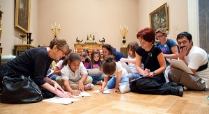 Families participating in Family Art Stops