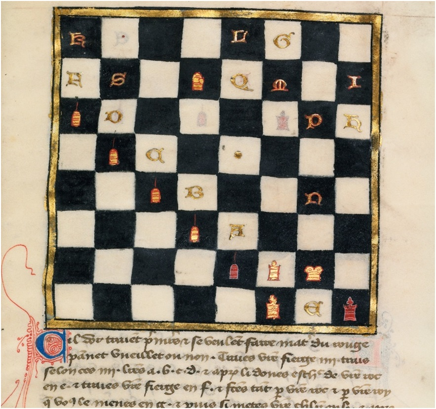 Chess Problem (detail) from Book of Chess Problems, late 14th century.  Tempera colors and gold leaf on parchment, 9 ¾ x 6 5/8 in. (24.8 x 16.8 cm). Ms. Ludwig XV 15, fol. 97
