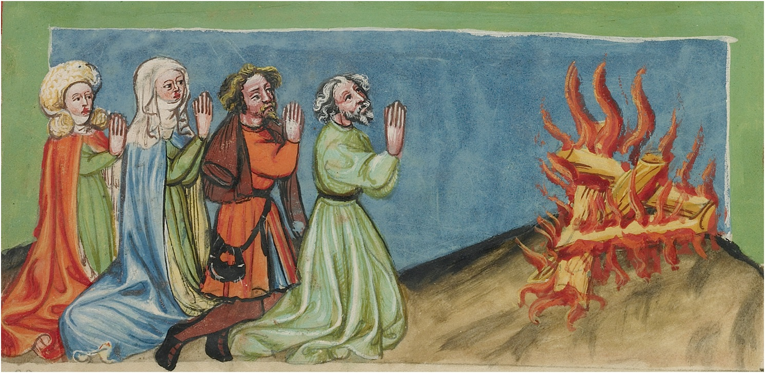 Nimrod and his Companions Venerating Fire in Rudolf von Ems' World Chronicle, about 1400-1410. Tempera colors, gold, silver paint, and ink on parchment, 13 3/16 x 9 ¼ in. (33.5 x 23.5 cm). The J. Paul Getty Museum, Ms. 33, fol. 11v