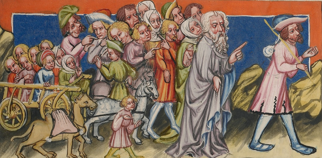 Jacob's Journey to Egypt (detail) in Rudolf von Ems' World Chronicle, about 1400-1410. Tempera colors, gold, silver paint, and ink on parchment, 13 3/16 x 9 ¼ in. The J. Paul Getty Museum, Ms. 33, fol. 54