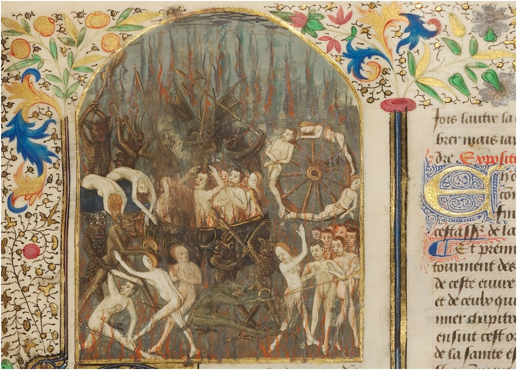 The Torments of Hell (detail) from Saint Augustine's City of God, about 1440-1450, Master of the Oxford Hours.  Tempera colors, gold and silver paint on parchment, 14 ¼ x 10 ¾ in. (36.2 x 27.3 cm). The J. Paul Getty Museum, Ms. Ludwig XI 10, fol. 217