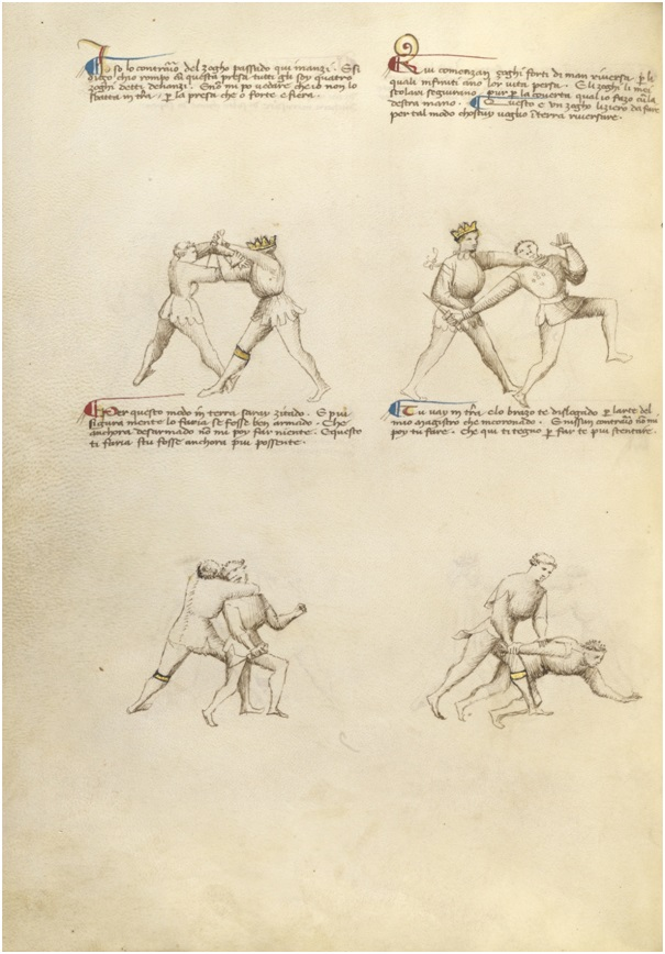 Combat with Dagger in Flower of Battle by Fiore Furlan dei Liberi da Premariacco, about 1410. Tempera colors, gold leaf, silver leaf, and ink on parchment, 11 x 8 1/8 in. (27.9 x 20.6 cm). The J. Paul Getty Museum, Ms. Ludwig XV 13, fol. 13v