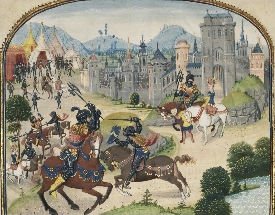 The Abduction of Ydoire, in The History of Charles Martel written 1463 - 1465; illuminated 1467 - 1472, Loyset Liédet and Pol Fruit. Tempera colors, gold leaf, and gold paint on parchment, 9 1/8 x 7 3/8 in. (23.2 x 18.8 cm). The J. Paul Getty Museum, Los Angeles, Ms. Ludwig XIII 6, leaf 1
