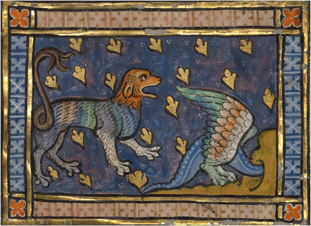 A Dragon Flying over a Panther from Bestiary, about 1270. Tempera colors, gold leaf, and ink on parchment, 7 1/2 x 5 5/8 in. (19.1 x 14.3 cm). The J. Paul Getty Museum, Ms. Ludwig XV 3, fol. 88