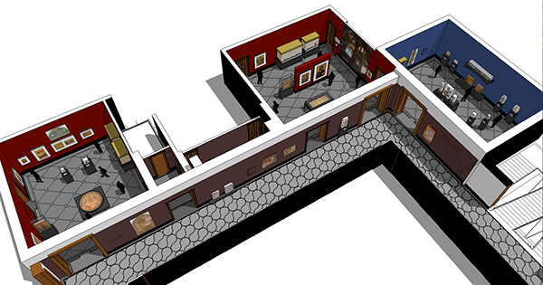 SketchUp model of the Getty Villa galleries
