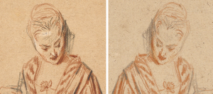 Lady and her mirror image. Details of original and counterproof of Seated Woman with a Fan (details), early 18th century, Jean-Antoine Watteau. Image left: The J. Paul Getty Museum, 82.GB.164. Image right: Collection Ariane and Lionel Sauvage