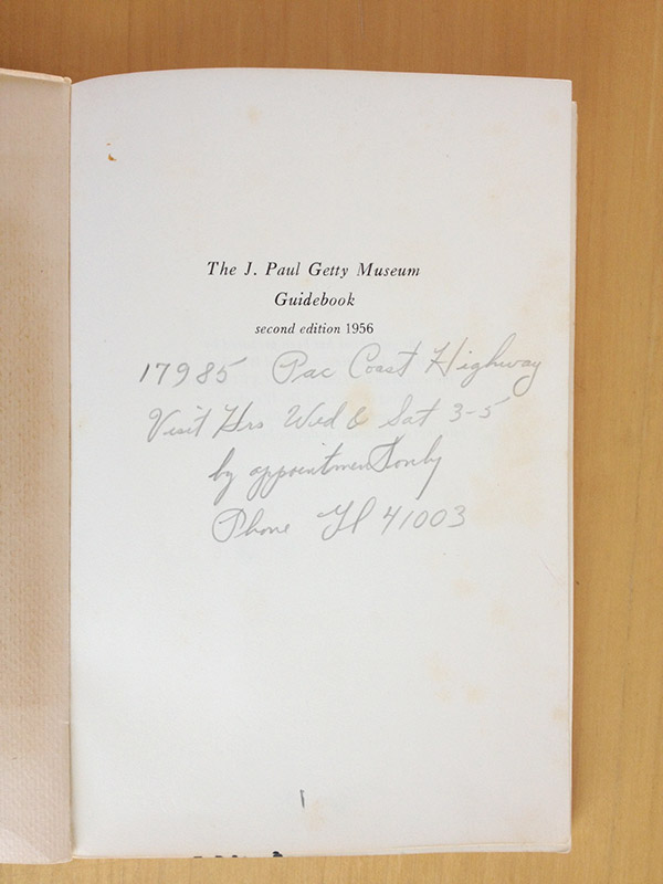 Title page of The J. Paul Getty Museum Guidebook, second edition