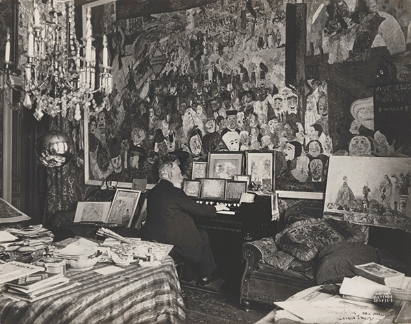 James Ensor Playing the Harmonium in His Music Studio / Maurice Antony