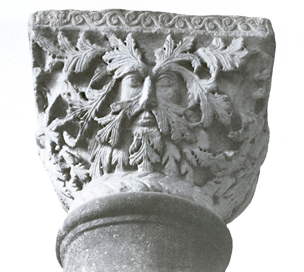 Sixth-century capital with a green man from the Istanbul Archaeology Museum