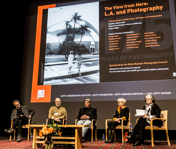 Photographers James Welling, Robbert Flick, John Divola, and Jo Ann Callis with moderator Anne Tucker (far right), Gus and Lyndall Wortham Curator at the Museum of Fine Arts, Houston