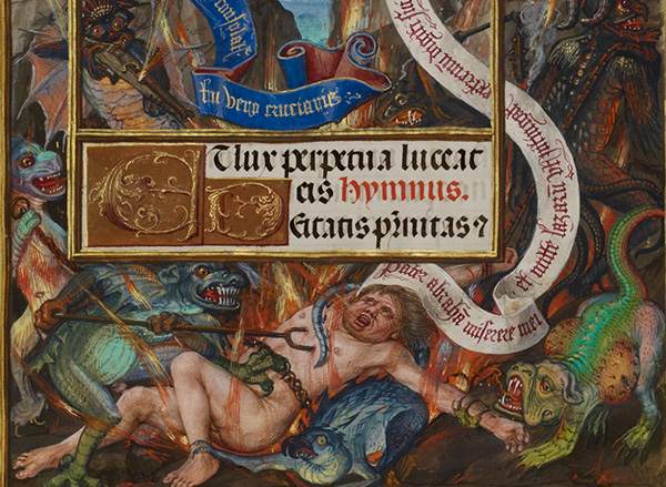 Lazarus's Soul Carried to Abraham (detail) in the Spinola Hours, about 1510–20, Master of James IV of Scotland. Tempera colors, gold, and ink on parchment, 9 1/8 x 6 9/16 in. The J. Paul Getty Museum, Ms. Ludwig IX 18, fol. 22