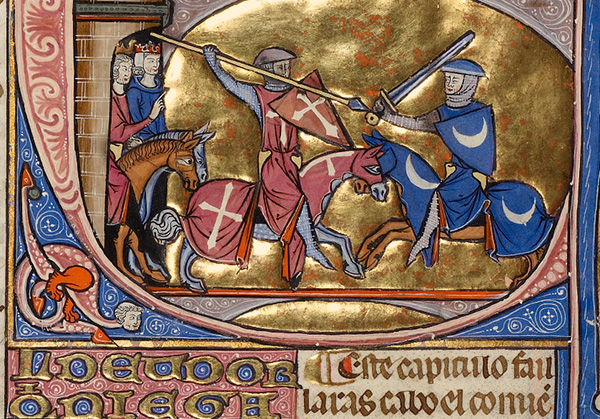 Initial E: An Equestrian Duel Between a Creditor and a Debtor from Vidal Mayor (Michael Lupi de Çandiu, scribe), about 1290–1310. Tempera colors, gold leaf, and ink on parchment, 14 3/8 x 9 7/16 in. The J. Paul Getty Museum, Ms. Ludwig XIV 6, fol. 169v