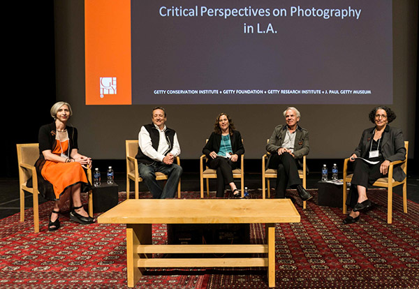 Members of the third panel: Jennifer Watts (curator of photographs, The Huntington Library, Art Collections, and Botanical Gardens); Christopher Knight (art critic, Los Angeles Times); Rebecca Morse (associate curator, Wallis Annenberg Photography Department, LACMA), Jan de Bont (filmmaker, collector, chair of the Getty Museum Photographs Council), and Virginia Heckert (curator, Department of Photographs, Getty Museum)