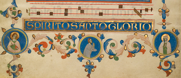Pentecost (detail) in the Laudario di Sant'Agnese, about 1340, Master of the Dominican Effigies. Tempera colors, gold leaf, and ink on parchment, 16 15/16 x 12 ½ in. The J. Paul Getty Museum, Ms. 80, verso