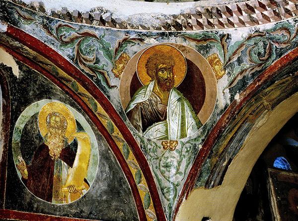 Fresco in the church of the Virgin Pantanassa in Mystras, Greece