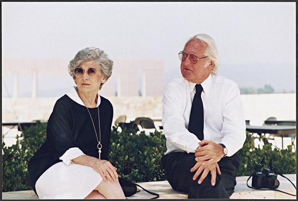 Ada Louise Huxtable with Richard Meier in 1996