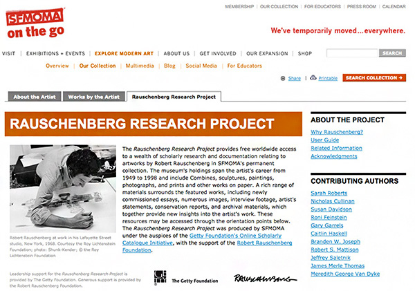 Rauschenberg Research Project / SFMOMA