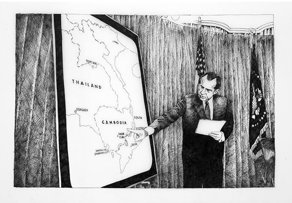 """April 30, 1970 (Washington), 2013, Ink on Duralar, 24"""" x 33 1/2"""""""