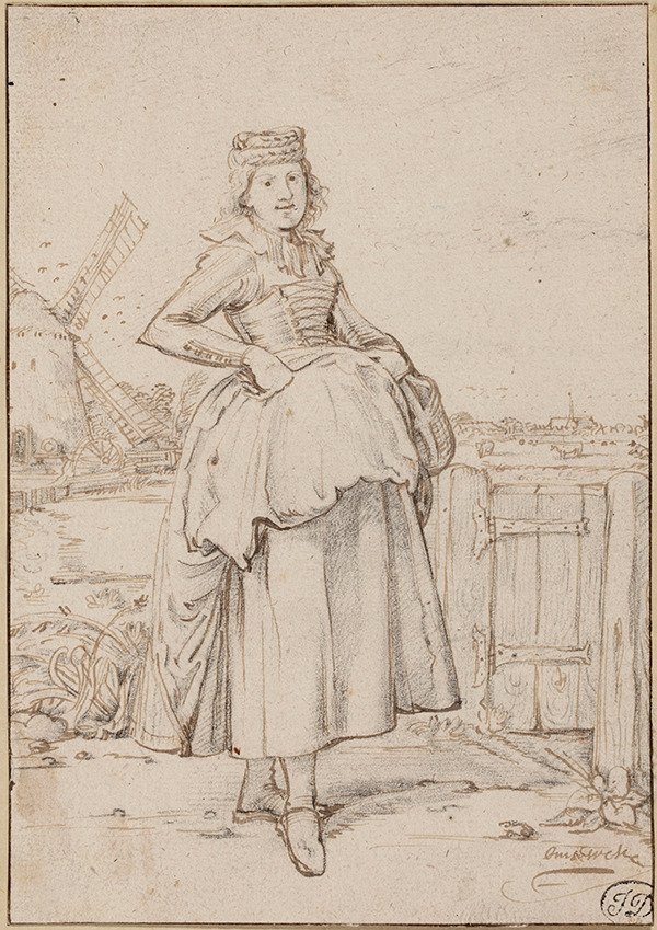 A Peasant Girl from Alkmaar, 1621, Willem Buytewech. Black chalk, pen and brown ink, brown ink framing lines, 19.5 x 13.5 cm. © Christie's Images Limited (2014)