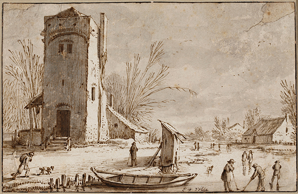 Large Square Tower to the left of a Frozen River, 1614, Esaias van de Velde. Pen and brown ink, 11.5 x 17.6 cm. © Christie's Images Limited (2014)
