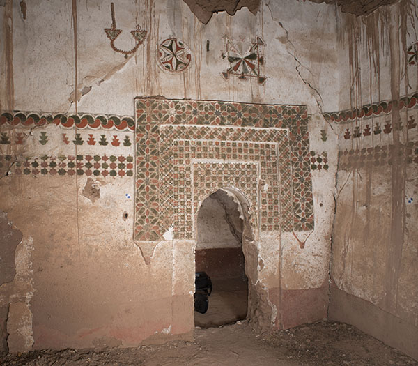 Detail of a wall painting in the Residence of the Caid, Kasbah Taourit, Ouarzazate, Morocco