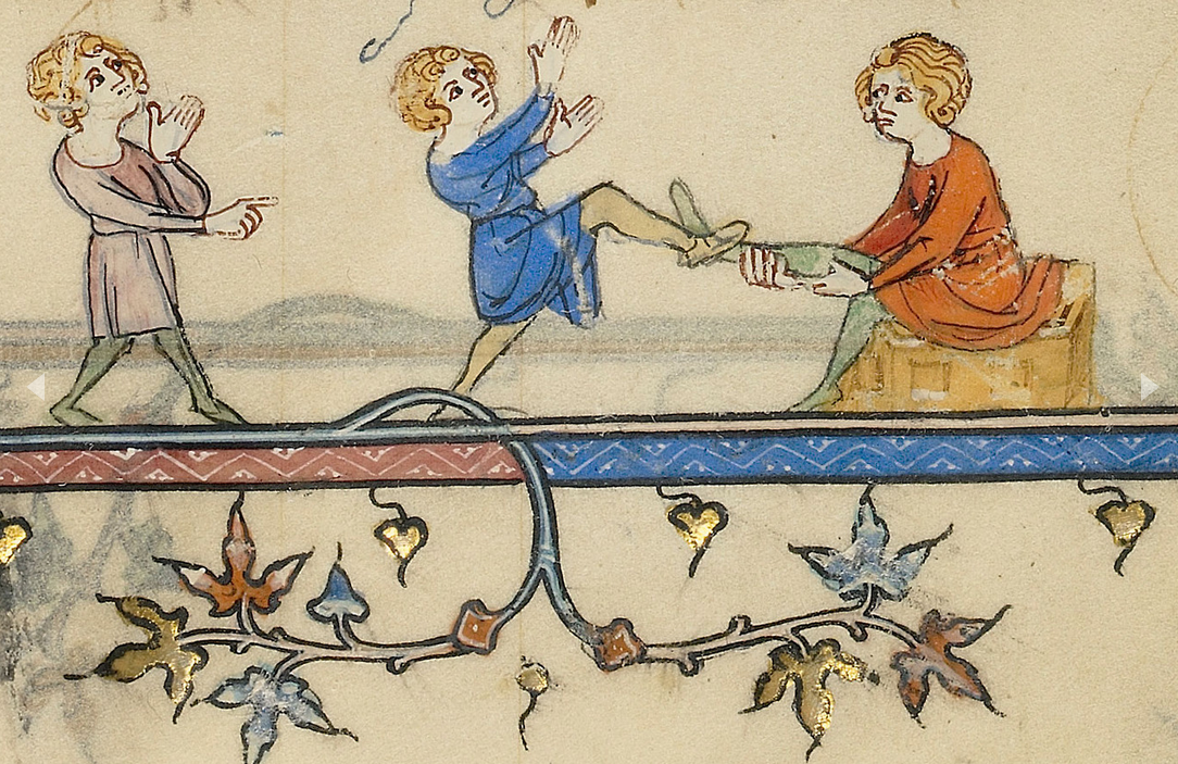 A boy is never too young to practice being a gentleman.   Initial T: The Apostles; Boys Playing a Game, about 1320-25, in Breviary. The J. Paul Getty Museum, Ms. Ludwig IX 2, fols. 356v–357.