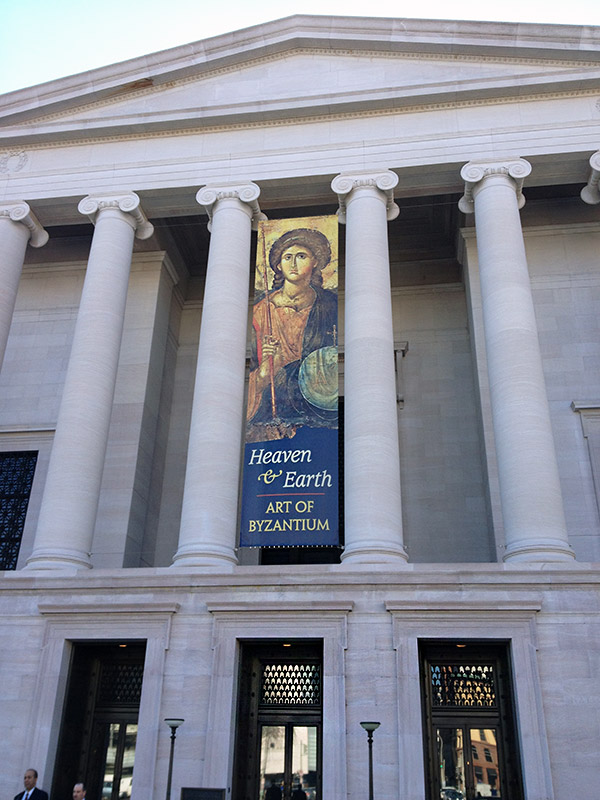 Exhibition banner for Heaven and Earth at the National Gallery of Art