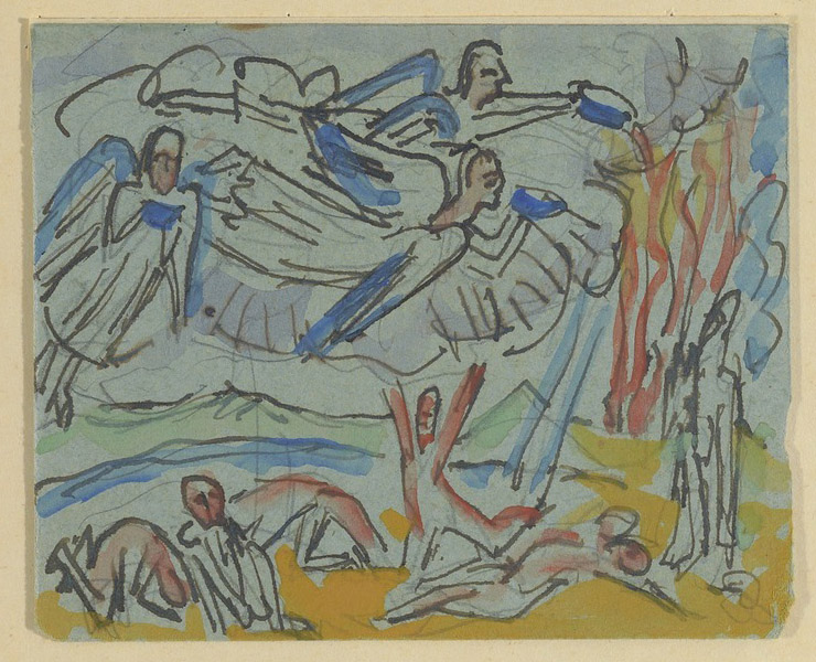 Angels Pouring Out the Vials with God's Wrath, 1917, Ernst Ludwig Kirchner. Ernst Ludwig Kirchner Sketchbooks, 1917–1932. The Getty Research Institute, 87-A487