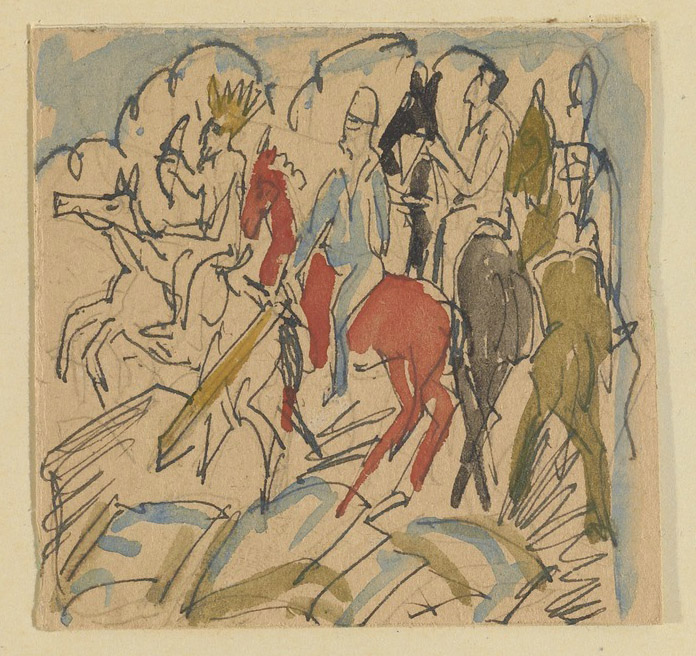 Four Horsemen of the Apocalypse, 1917, Ernst Ludwig Kirchner. Ernst Ludwig Kirchner Sketchbooks, 1917–1932. The Getty Research Institute, 87-A487