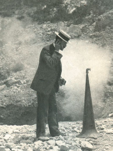 "F. A. Perret with an improvised ""geophone,"" listening to subterranean noises at the Campi Flegrei, Italy, c. 1906-1907. Source: ""The Day's Work of a Volcanologist."" The World's Work, V. 25, November, 1907."