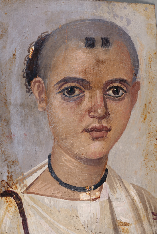 Mummy Portrait of a Boy, about A.D. 150–200, Romano-Egyptian, made in Fayum, Egypt. Encaustic on wood, 8 x 5 1/8 in. The J. Paul Getty Museum, 78.AP.262