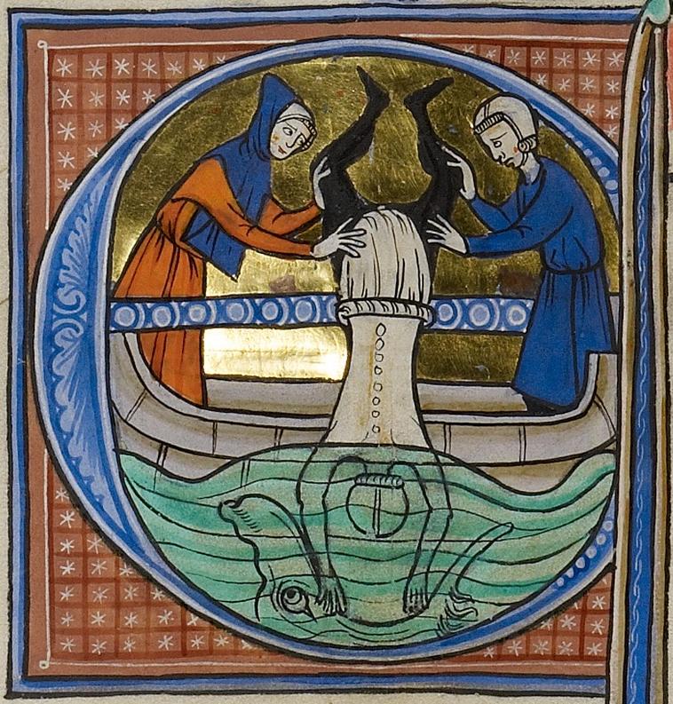Initial E: Jonah Cast into the Sea, about 1270, Franco-Flemish. J. Paul Getty Museum.