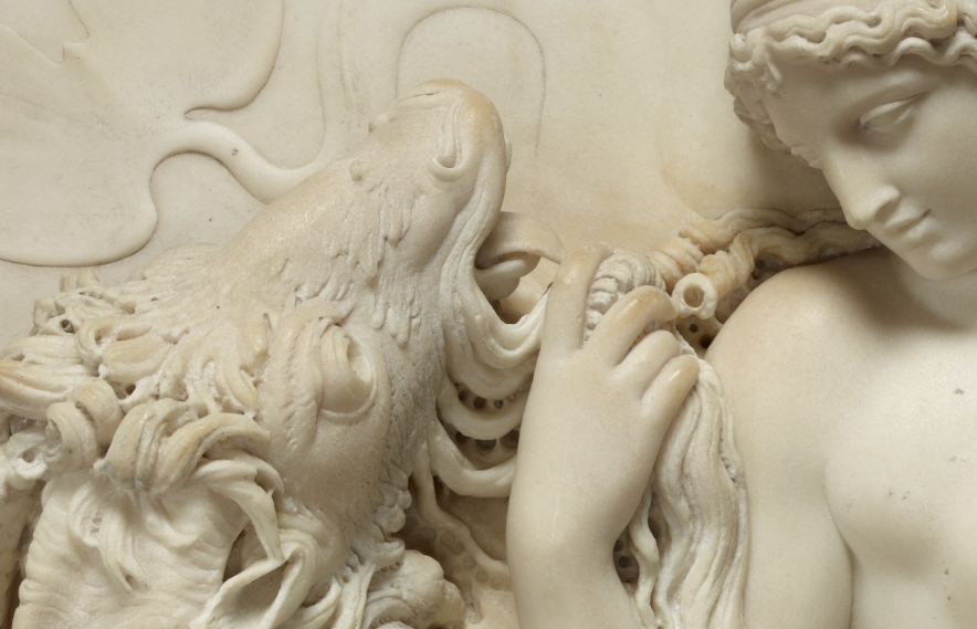 Venus Reclining on a Sea Monster with Cupid and Putto (detail), 18th century, John Deare. J. Paul Getty Museum.