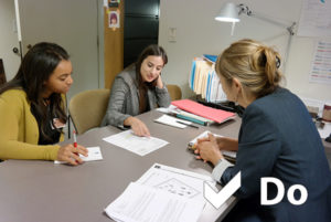 Corinne (left) and Gaby (center) in a productive meeting with Getty Villa exhibitions coordinator Robin McCarthy (right)