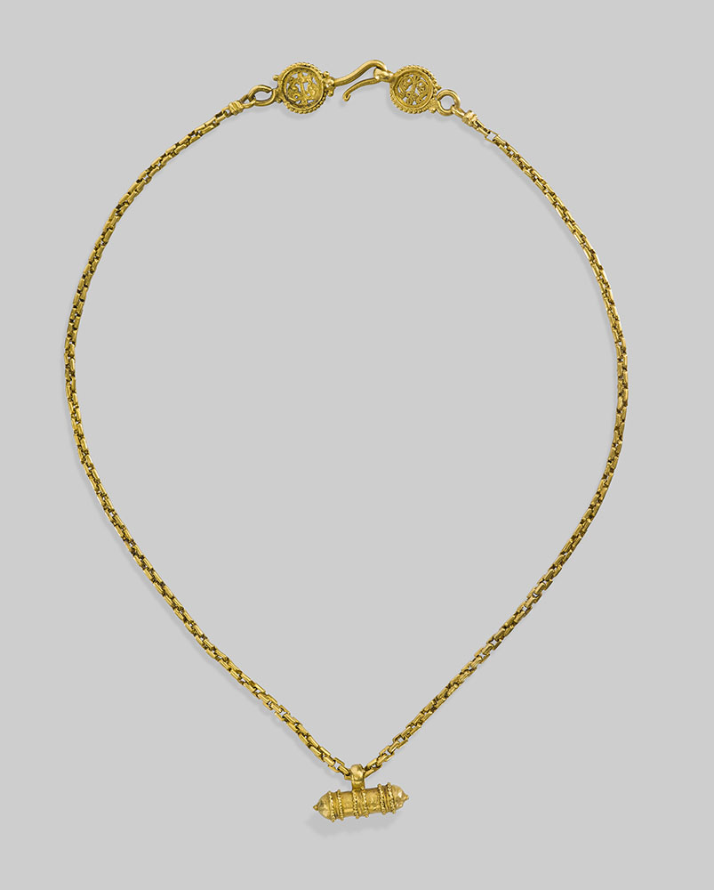 Gold Chain and Amulet (detail of amulet), A.D. 600s, Byzantine, made in Lesbos, Greece. Gold. Image courtesy of the Byzantine and Christian Museum, Athens