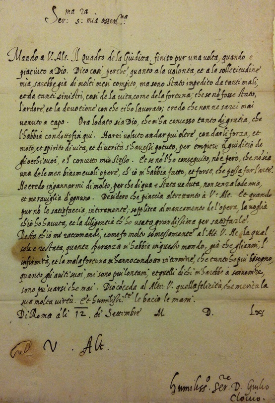 Giulio Clovio Letter to Margaret of Austria, 1561 Sept. 12. 1561. Getty Research Institute, 86-A862