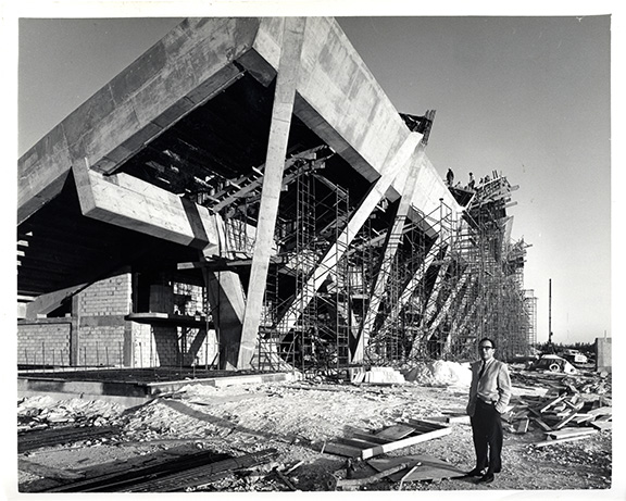 Miami Marine Stadium architect Hilario Candela onsite during the building's construction in 1962. Photo: Friends of the Miami Marine Stadium
