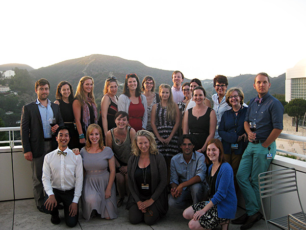 The 2014 class of the Mellon Summer Institute in Italian Paleography at the Getty Center at sunset