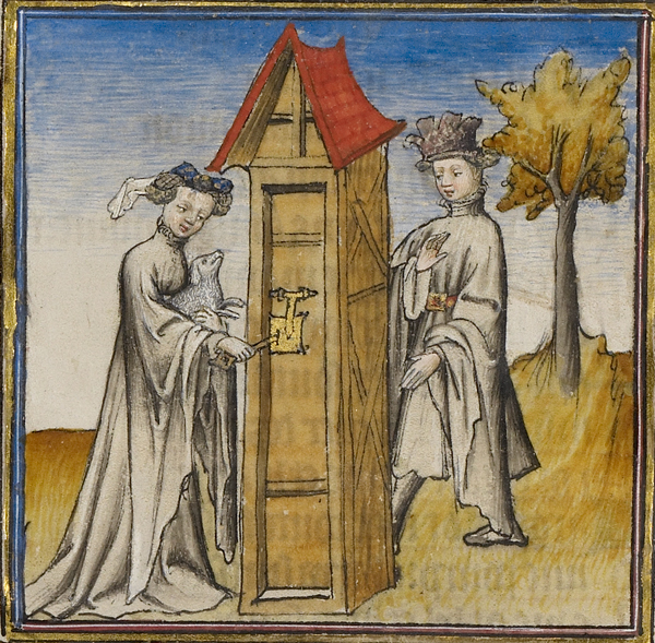 Idleness Opening the Door for the Lover in Romance of the Rose, about 1405, unknown illuminator, made in Paris. Tempera colors, gold leaf, and ink on parchment bound between pasteboard covered with dark red morocco, 14 7/16 x 10 1/4 in. The J. Paul Getty Museum, Ms. Ludwig XV 7, fol. 9v