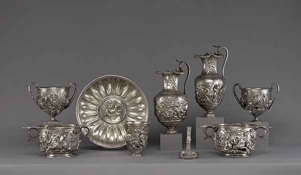 Group photograph of silver vessels from the Berthouville treasure